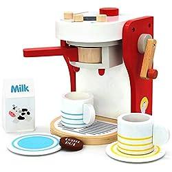 yoptote Jeux Imitations Enfants - Machine a Cafe Kit Cuisine Enfant Jouet en Bois de Jouet éducatif Jeu de Rôle pour Anniversaire Enfants 2 3 4 Ans