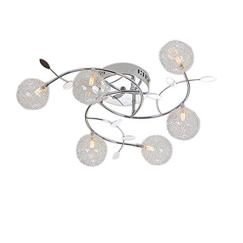 Schatten Sechs Licht Kronleuchter (Modernes Glas- und Eisen-Kronleuchter-Licht, 6 helle Kronleuchter-Decken-Licht für Wohnzimmer, Schlafzimmer, Esszimmer-Beleuchtung-Dekoration (A-Style))