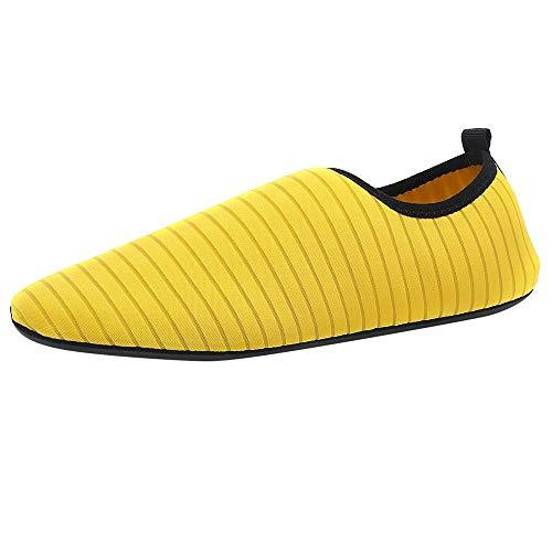 feiXIANG Schuhe Unisex Aquaschuhe Herren Damen Laufschuhe Schnelltrocknend Strandschuhe Wasserschuhe Badeschuhe (Gelb,45-46) -
