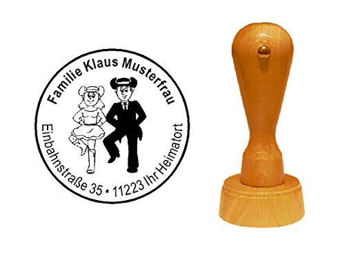 Stempel Holzstempel Motivstempel « LINEDANCE TÄNZER » mit persönlicher Adresse - Tanzen Volkstanz Gruppentanz