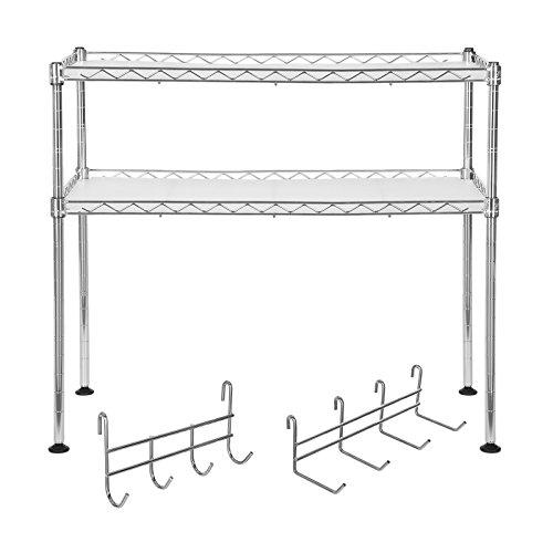 Arbeitsplatte Regal (Songmics Küchenregal Mikrowellenhalter Super Stahlqualität, Breite 60 cm, Gewürzregal Verchromt - mit 8 Haken 2 Ablagen für kleine Küchen LGR20C)
