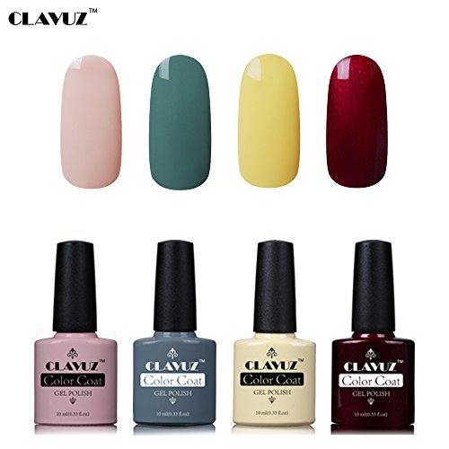 Set de Vernis à Ongles Semi-Permanent UV LED Soakoff 4pcs Kit Manucure 10ml de Clavuz-KIT 018