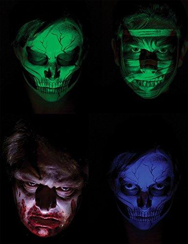 (shoperama Gruselige Special-Effect Gesichtsbeleuchtung für Geist Zombie Vampir Halloween Horror Kostüm)
