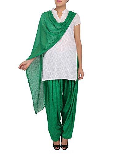 Womens Cottage Women's Forest Green Pure Cotton Jacquard Semi Patiala Salwar & Chiffon Dupatta Stole Set with Lace