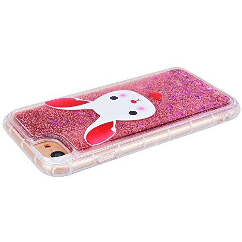 GrandEver Coque iPhone 7 Plus Glitter Liquide à Paillette Souple TPU Silicone Gel Transparente Case avec Bumper à Motif Design Dessin Animé --- Couronne Lapin 1