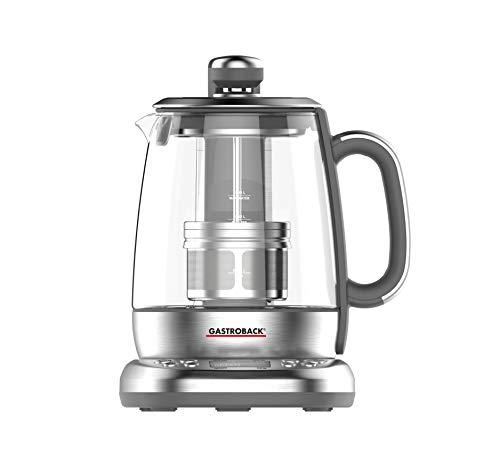 GASTROBACK 42440 Design Automat Advanced Plus, Automatischer Tee- und Wasserkocher (2 in 1), 24-Stunden-Einschalt-Timer, Edelstahl-Teefilter, 1,5 Liter Glasbehälter, 2.000 Watt, Glas, silber