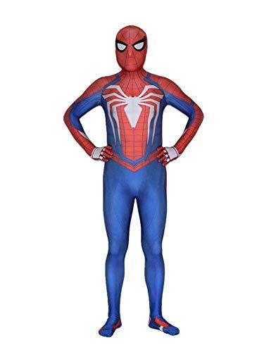 psuit 3D Spandex Lycra Print Spielzeug Spiele Kopfbedeckungen Halloween Erwachsene Spider Man Maske Zentai,Blue-Adultmale-Conjoined-L ()