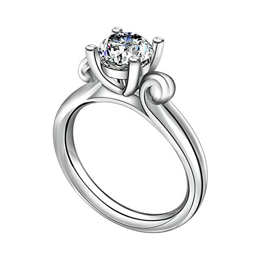 (Custom Ringe)Adisaer Ring Silber 925 Damen Vier Klaue Kristall Runde Strass CZ Muster Verlobungsring Größe 55 (17.5) Kostenlos Gravur (Pharao Kostüm Muster)