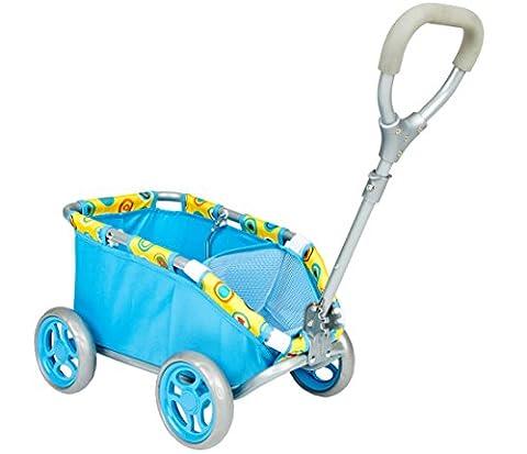 Kinder Handwagen Puppen Ziehwagen Bollerwagen blau