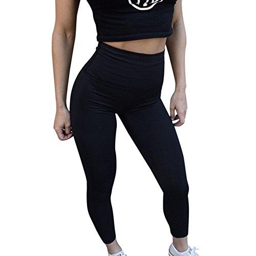 Topgrowth Donna Leggings Sport Palestra Yoga Jogging Pantaloni a Vita Alta Elastico Spingere Collant Sportiva Magro Ghette Nero