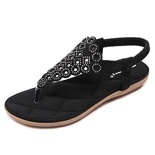 Pantofole Piatte per Scarpe estive da Donna in Stile bohémienSandali da Spiaggia con Strass Neri 37