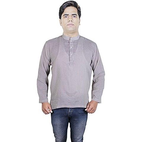 Camisa de la manera ropa - mens raya del algodón corto kurta - vestidos india -size m
