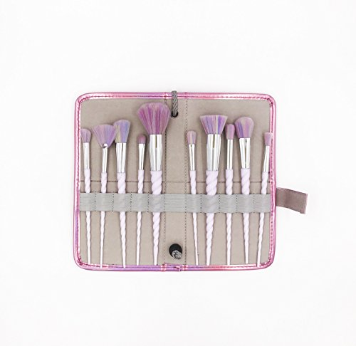 Robinson 10Pcs High Quality Cream Unicorn Shape Design Handle Makeup Brushes Set Soft Multi-Colour Brush Hair With Portable Case