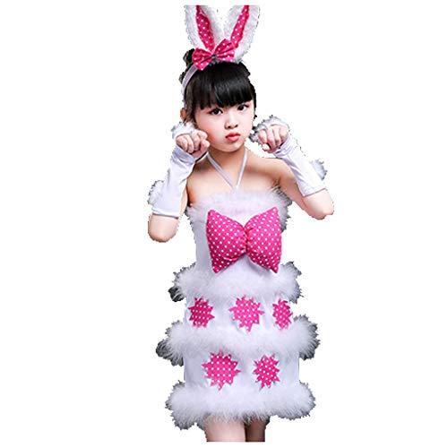 HUO FEI NIAO Mädchen weißes Kaninchen Kostüm Tier Kostüm Requisiten Tanz Kostüm Laufsteg Kostüm (Color : Pink, Size : 120) (Weißes Kaninchen Kostüm Muster)