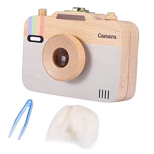 Aufbewahrungsbox aus Holz, niedlicher Aufbewahrungsbehälter mit Kamera-Muster für Milchzähne und Babyhaar(Grau)