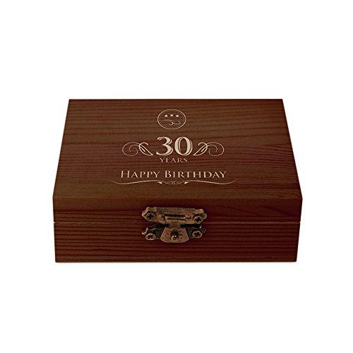"""Amavel - set whisky - 9 pietre raffreddanti - scatola legno scuro - incisione per il 30º compleanno """"happy birthday"""" - accessori casa - degustazione - idee regalo originali per lui - festa del papà"""