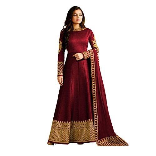 Zeel Fashion Women's Silk Dress Material (SF9C_Free Size_Maroon)