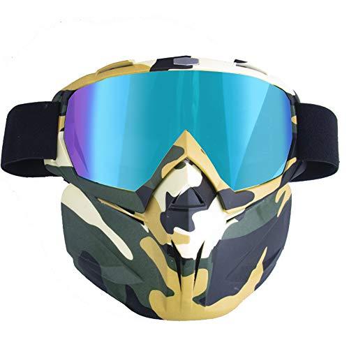 Preisvergleich Produktbild Motorradhelm Schutzbrille Brille Mit Abnehmbarer Maske,  Abnehmbare Anti-Fog Warme Brille Mundfilter Einstellbare Anti-Rutsch-GüRtel Retro Harley Combat Motocross, Multicolored, Camouflage