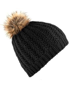 Beechfield - Gorro de invierno con pom pom de pelo para mujer