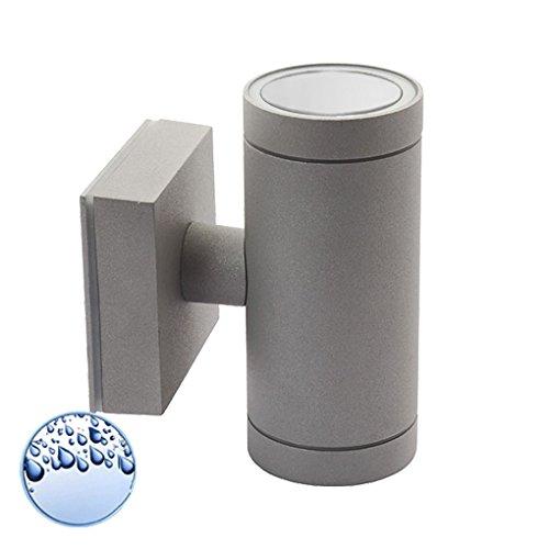 Wandleuchte/Wandlampe/Außenleuchte/Up Down/2-Flammig/Aluminium/Grau/Form:B/IP44/GU10-230V (Ohne Leuchtmittel)