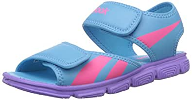 Reebok Boy's Wave Glider Blue Beam,Lush Orchid and Solar Pink Sandals and Floaters - 2.5 Uk