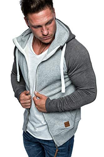Amaci&Sons Herren Zipper Kapuzenpullover Sweatjacke Pullover Hoodie Sweatshirt 1-04030 Hellgrau/Anthrazit S - 4