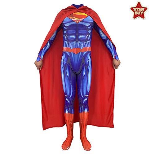 HEROMEN DC Superman Steel Body 2 Cosplay Kostüm Lycra Siamese 3D Strumpfhose Weihnachten Halloween Kostüm Für Erwachsene/Kinder - Enthält Umhang,Kids-S (Superman Teen Kostüm)