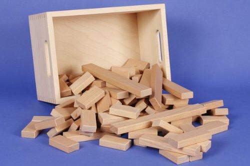 Holzbausteine-Set 100 der 30 x 15mm Serie in der Buchekiste aus der Manufaktur Tischlerschuppen
