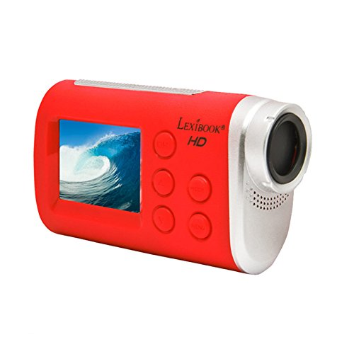 Lexibook dja100 - videocamera digitale 5mp con funzione wi-fi, full hd, schermo lcd, accessori di fissaggio, caso impermeabile, rosso