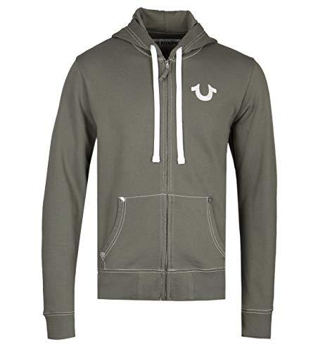 True Religion Classic Logo Khaki Green Zip Up Hoodie - Large -