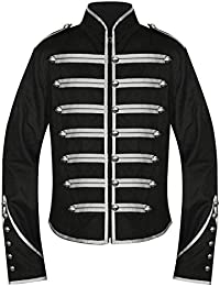 Men's Unique Gothic Steampunk Silver Black Parade Military Marching Band Drummer Jacket Goth Punk Emo