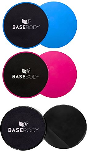 Gliding Discs - Pink or Blue or Black – Core Sliders - Exercise Discs - Reversible for use on...