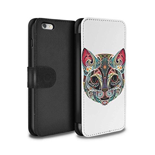 STUFF4 PU-Leder Hülle/Case/Tasche/Cover für Apple iPhone 4/4S / Schmetterling Muster / Deko-Tiere Kollektion Katze
