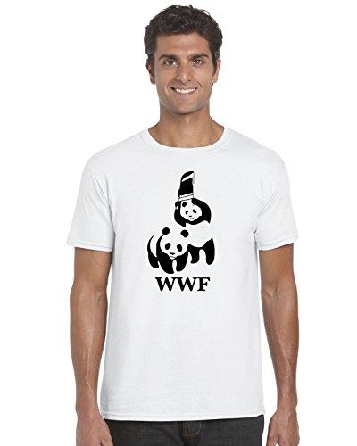Parodie-T-Shirt, WWF-Logo, Panda-Wrestling, für Erwachsene Gr. Medium, White,Medium,White,Medium (Championship T-shirt White)