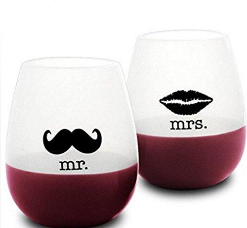 """faltbare weinglaeser 2-tlg. Set """"Mr."""" und """"Mrs."""" Outdoor-Hochzeiten unzerbrechliche Silikon-Weingläser ohne Stiel, Wein-Becher, Biergläser, Tassen"""