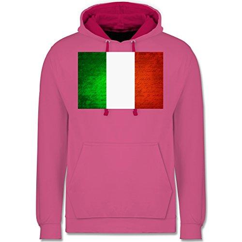 Länder - Flagge Italien - Kontrast Hoodie Rosa/Fuchsia