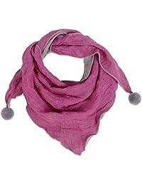 Westeng Kinder Schals Niedlich Dreieck Schal aus Baumwolle mit Haarball, Warmer und Winddicht Halstücher für Winter (Rot rosa)