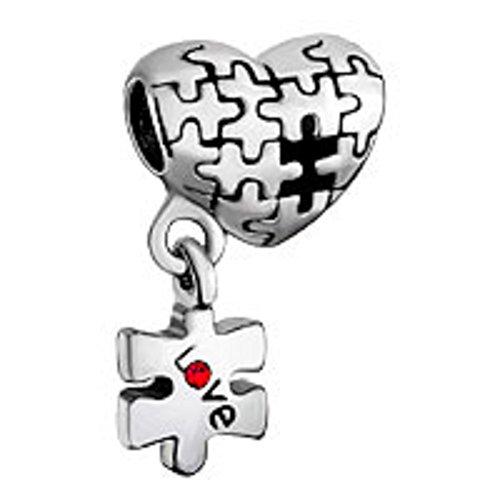 Puzzle Herz Charme baumeln Love rot Geburtsstein Perle Charm für Pandora Chamilia Charms Armbänder