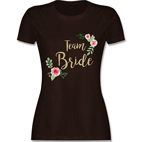 JGA Junggesellinnenabschied - Team Bride Blumen Vintage - XXL - Braun - L191 - Damen T-Shirt Rundhals