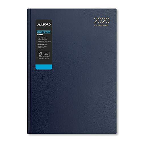 Milford 2020 - Agenda settimanale da scrivania con appuntamenti, formato A4, da gennaio a dicembre A4 Blue Diary