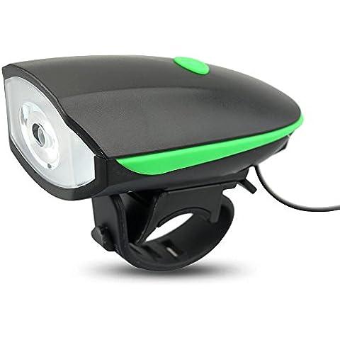 AcTopp Timbre para Bicicleta+LED Faro Delantero/Foco Frontal de Ciclismo/Luz Delantera de Bici 250Lm CREE 3 Modos de Luz Batería Recargable (Cable USB Incluído) Alto DB Ciclismo Color