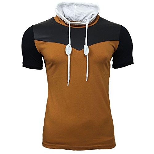 R-NEAL T-Shirt Schalkragen slim fit Camel