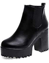 Calzado de Mujer Plataformas de Tacón Cuadrado Cuero Muslo Alta Botas de la Bomba Zapatos Botines Para