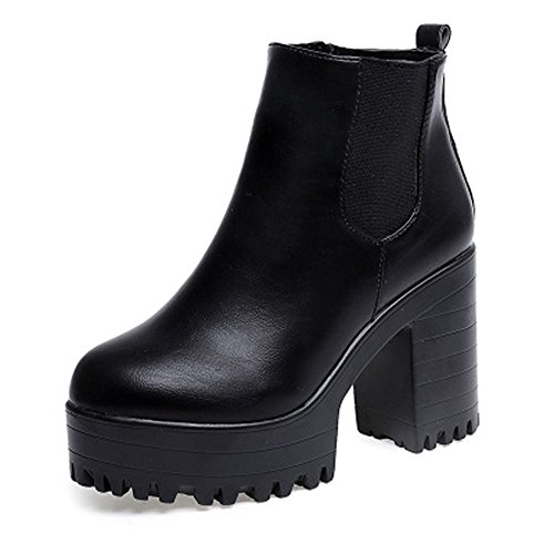 Damen Chelsea Boots Blockabsatz Plateau Stiefeletten High Heels Leder Stiefel Zipper Booties Winterschuhe (High Stiefeletten Leder Heel)