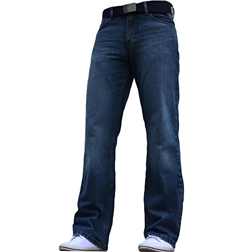 BNWT NEW MENS WIDE LEG BOOTCUT FLARED BLUE HEAVY DENIM JEANS ALL WAIST & SIZES Dark Blue 32W X 34L