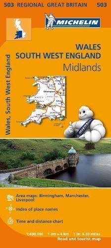 Mapa Regional Wales, South West England, Midlands (Carte regionali) por MICHELIN