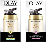 Olay Day Cream Total Effects 7 in 1, Anti-Ageing Gentle Moisturiser, 50g And Olay Night Cream Total Effects 7