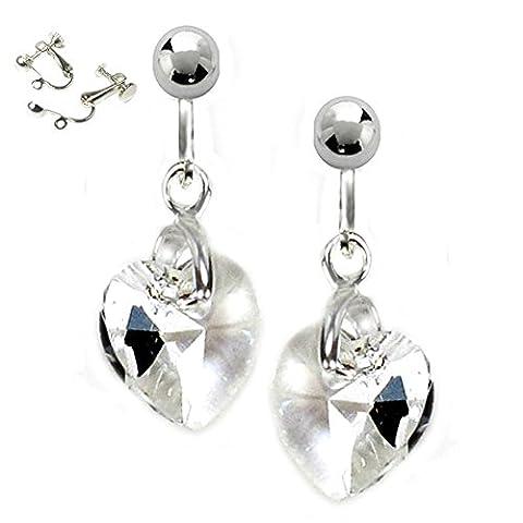 Clip sur boucles d'oreilles cristal Swarovski Transparent cœurs Coffret cadeau bijoux forme de cœur Plusieurs longueurs