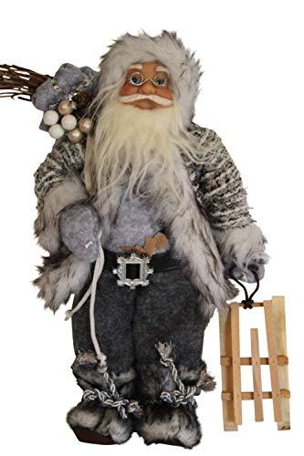 GardenMarketPlace Weihnachtsmannfigur mit Schlitten, rustikaler Stil, 30 cm hoch