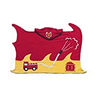 Kidorable Red Fireman All-Cotton Hooded Towel for Boys with Fun Flames and Fire Chief Badge Ages 0-2